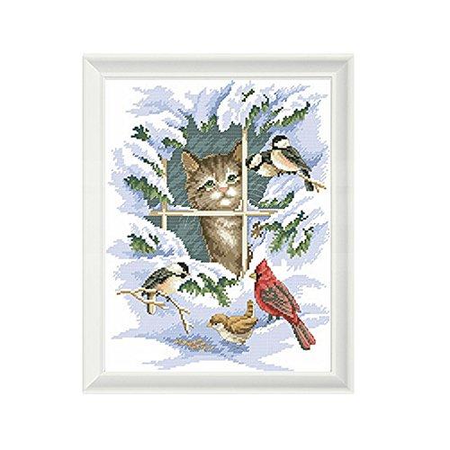 itimo Handarbeit Kreuzstich Stickerei Kits DMC Zählen Print Leinwand Malerei Winter Katze und Vögel DIY Snow Scenery 14ct Full Naht -
