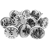 Mixed Set of 'Alice in Wonderland - Clocks' Black & White Ceramic Cupboard Knobs x Pack 10 (MG-262) - 'Mango Tree' TM Registered Product