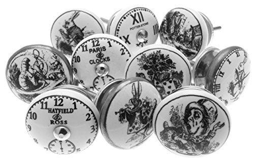 Mélange Lot de 'Alice au Pays des Merveilles - Horloges' Noir Et Blanc Céramique Poignées De Placard x Paquet 10 (MG-262) - 'Vintage-Chic' TM Produit