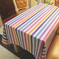 Rayas de color Mantel de varios tamaños Paño de cubierta multifunción Fácil de limpiar , 137*100cm