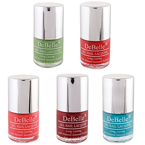 DeBelle Gel Nail Polish Combo offer Kit of 5 (Pastel Green, Red, Coral Orange, Maroon, Turquoise Blue) (Multicolor 8 ml each)
