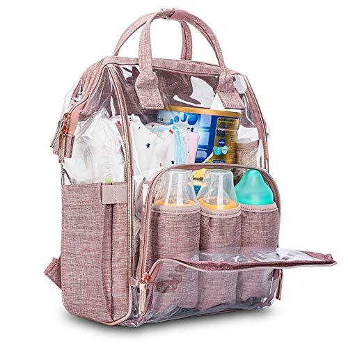 LOUYT Fashion Mummy Diaper Bag Transparent Diaper Backpack Maternal Bag Waterproof Pvc Large Capacity Multi-Functional Nursing Daypack Clear