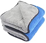 KinHwa Microfibre Car Cleaning Towels Ultra Thick Plush Drying Super Absorbent Car Wash Cloths Scratch Free 40cm x 60cm 2 Pack Blue / Grey