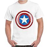 T-Shirt Uomo Maglia Maniche Corte Supereroi Marvel Stampa Scudo Capitan America, Colore: Bianco, Taglia: S