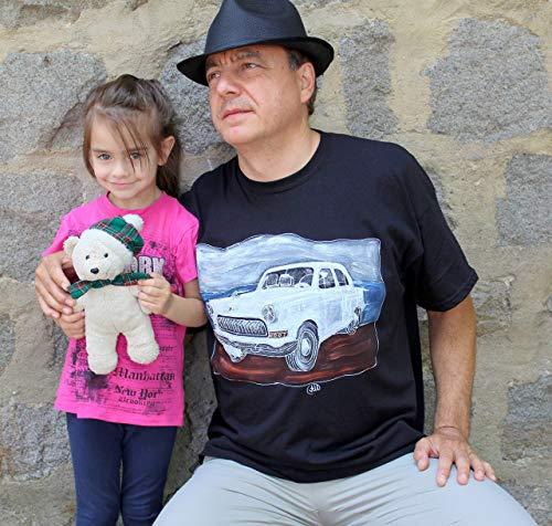 Sonderangebot,Verkauf!!! 20% reduziert,VOLGA GAZ 21, handbemalt T-shirt,sowjetische Oldtimer, russische Oldtimer, Retro sowjetischen Auto Wolga, USSR Auto auf 70-80s,Größe XL