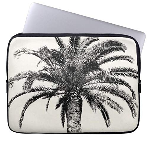 qidushop Retro Tropical Island Palm Tree In Black and White Gift Ideas Cute Laptop Case 15 15.4 Inch Netbook Envelope Cover Sleeve -