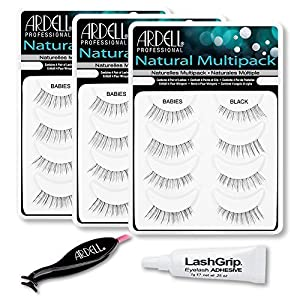 Ardell Fake Eyelashes Value Pack - Natural Multipack Babies (Black, 3-Pack), LashGrip Strip Adhesive, Dual Lash Applicator - Everything You Need For Perfect False Eyelashes by Ardell