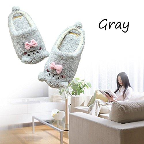Minetom Femme Fille Hiver Chaud Pantoufles Motif De Chat Chaussons Mignon Doux Confortable Rembourré Peluche Antidérapant Chaussures Gris