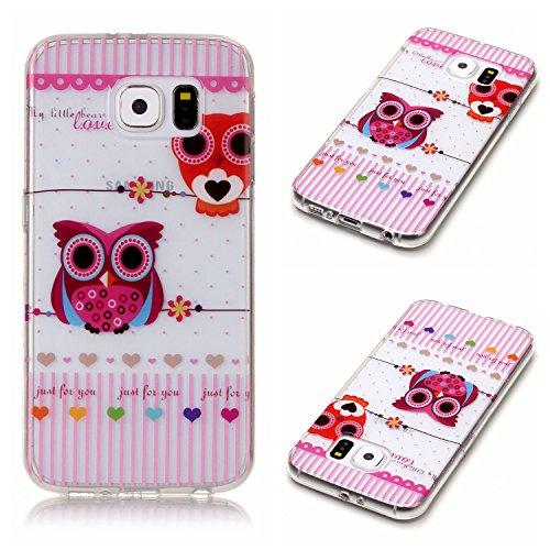 Qiaogle Telefon Case - Weiche TPU Case Silikon Schutzhülle Cover für Apple iPhone 6 Plus / iPhone 6S Plus (5.5 Zoll) - XS35 / Blau Schmetterling + Weiß Blume XS43 / Love + Eule