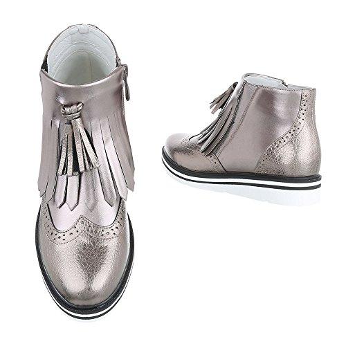 Ital-Design - Stivali Donna grigio argento