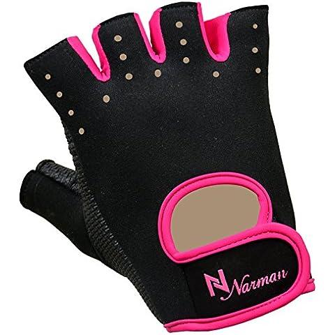 Rosa proworks Mujer agarre acolchado guantes sin dedos para gimnasio Levantamiento de Peso Ejercicio
