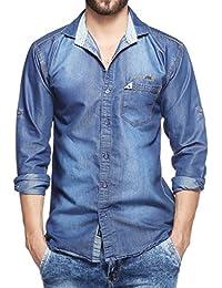 Fasnoya Lafantar Men's Denim Slim Fit Shirt (Blue)
