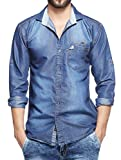 Lafantar by Fasnoya Men's Slim Fit Denim Casual Shirt (dms44-m_Blue_Medium)