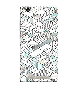Fuson Designer Back Case Cover for Xiaomi Redmi 3s (Green White Boxes Triangles Square Buildings)