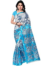 Sarees New Collection Latest Sarees Women's Art Silk Saree (Blue And White) (Saree Centre Sarees For Women Party...