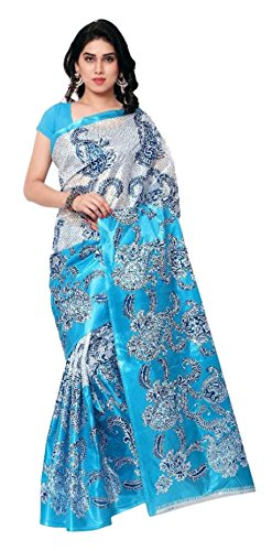 Sarees New Collection Latest Sarees Women\'s Art Silk Saree (Blue and White) (Saree Centre Sarees For Women Party Wear Offer Designer Sarees For Women Latest Design Sarees New Collection Saree For Wom
