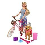 VILLAVIVI Fahrrad Hund Spielzeug Accessoires Zubehör Puppen Bike Sets Inkl. Hund, Knochen, KOT, Schaufel, Müll, Knochen Aufbewahrungsbox für Barbie Puppen Doll DIY Zusammenbauen