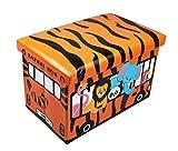 GMMH Hocker 49 x 31 x 31 cm Faltbarer Original Spielzeugbox Spielzeugtruhe Spielzeugkiste AufbewahrungsboxSitzhocker faltbar (Safari)