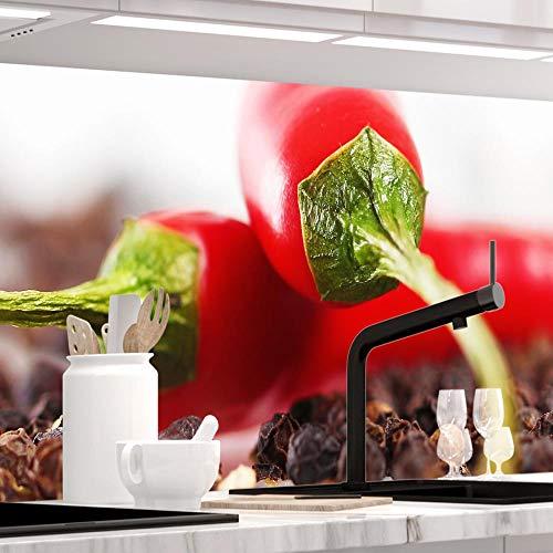 StickerProfis Küchenrückwand selbstklebend - HOT Chili - 1.5mm, Versteift, alle Untergründe, Hart PET Material, Premium 60 x 220cm
