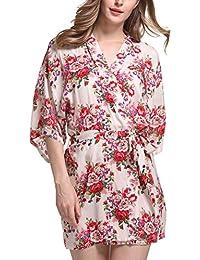0889531a6c DELEY Donne Kimono Cotone Mercerizzato Vintage Stampa Floreale Elegante  Accappatoio Abiti Vestaglia Abito da Sposa Pigiameria