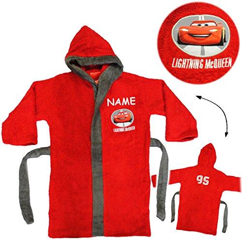 alles-meine.de GmbH Frottee Bademantel -  Disney Cars - Auto - Lightning McQueen  - incl. Name - 5 bis 8 Jahre / Gr. 116 - 140 - 100 % ()