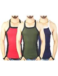 Zimfit Men's Gym Vest Pack Of 3 (Red_Green_Navy)
