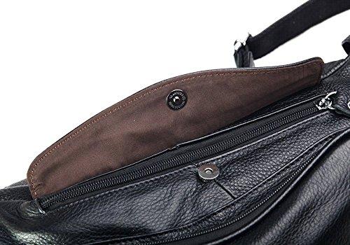 Modelshow Damen Herren Echtleder Rucksack Einzel-Schulter-Rucksack Brustbeutel zum Reisen (braun) schwarz
