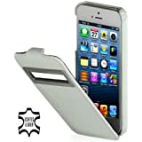 StilGut UltraSlim Case, Tasche aus Leder mit Sichtfenster (iOS 6) für Apple iPhone 5 & iPhone 5s, Weiß - Croco