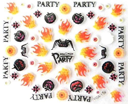 Générique Nail Art Autocollants Stickers Ongles: Décorations Halloween citrouilles Flammes