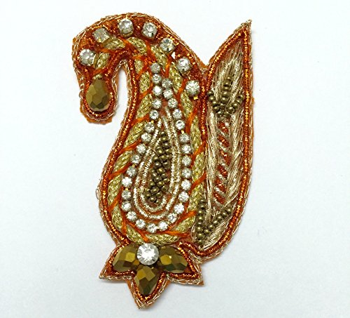 ORANGE COLOR PAISLEY WITH WINGS APPLIQUES EMBROIDERED BOTA SEW ON PATCH SEWING...