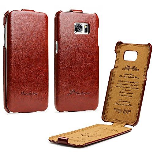 Urcover® Flip Cover kompatibel mit Samsung Galaxy S7 Edge Handy Schutz-Hülle Braun | Fashion Klapp Tasche | Smartphone Zubehör Case