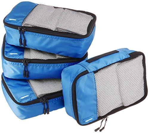 AmazonBasics Lot de 4sacoches de rangement pour bagage TailleS, Bleu