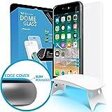 iPhone 8/7plus Protector de Pantalla Escudo de Cristal Templado, [Tecnología de Dispersión Liquida] Domo de Cristal 3D con Curva de Cobertura Completa, Kit de Fácil Instalación y Luz UV por Whitestone
