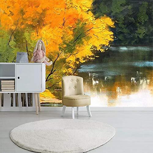Trend Nordic Ästhetik Persönlichkeit Forest Creek Landschaft Ölgemälde Wohnzimmer Schlafzimmer TV Hintergrund Papier Wandmalerei350cm×256cm -