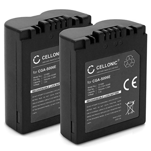 Cellonic 2x Qualitäts Akku für Panasonic Lumix DMC-FZ7 DMC-FZ8 DMC-FZ18 DMC-FZ28 DMC-FZ30 DMC-FZ35 DMC-FZ38 DMC-FZ50, Leica V-Lux 1 (750mAh) CGR-S006,CGA-S006,DMW-BMA7,BP-DC5 Ersatzakku Batterie