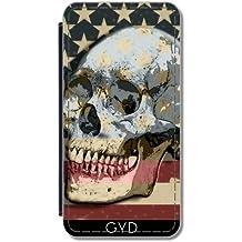 Funda Carcasa Cubierta de PU Cuero para Samsung Galaxy S9 (SM-G960) - Bandera Americana Sobre El Cráneo by Blingiton