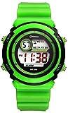 Kinder Kind Mädchen Jungen Männer Frauen Multifunktions wasserdicht 30M Sport Digital Uhren Stoppuhr mit Uhr und Nachtlicht - 8 Farben (Grün)