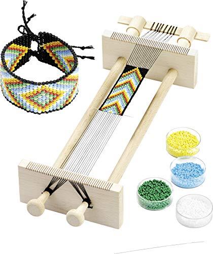 Knorr prandell 216080006 Webrahmen (zum Weben, von Perlenbänder, 34 x 11,5 x 6 cm, aus Holz, in naturfarben)