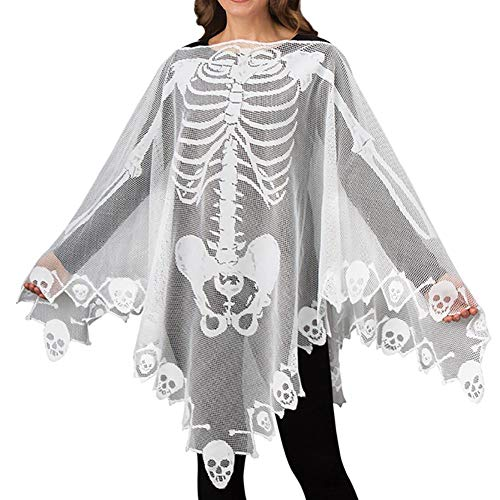 Kostüm Weiblichen Sensenmann - Kentop Halloween Kostüm Skelett Kleidung Geist Knochen Sensenmann-Skelett für Erwachsene Weiblich Halloween Tanz Kostüm Party Cosplay Maskerade-Weiß, Transparent