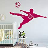 wukongsun Fútbol niño Nombre Personalizado y número de niños Sala de Adolescentes Etiqueta de la Pared fútbol Silueta Vinilo Mural Fucsia S 54cm x 30cm