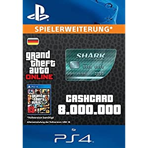 Grand Theft Auto Online | GTA V Megalodon Shark Cash Card | 8,000,000 GTA-Dollars | PS4 Download Code – deutsches Konto