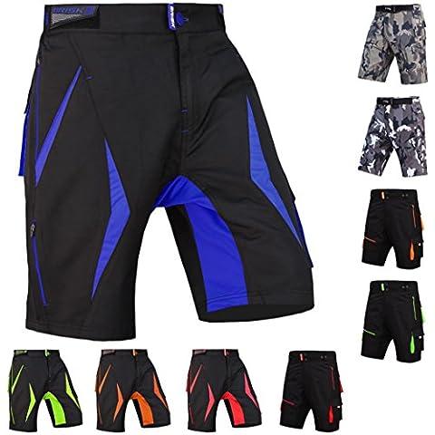 Pantaloncini MTB Brisk, Coolamax imbottito, staccabile rivestimento interno, Free Style per adulti, Black / Blue 2004, XL