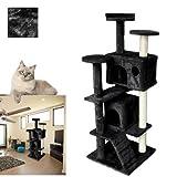 VINGO®Prämie schwarz Katzenkratzbäume mit Spielseil gute Verarbeitung Katzenspielplatz Plüschteppichoberfläche