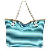 CASPAR TS1024 große XXL Damen Marine Strandtasche/Shopper mit klassisch maritimen Streifen Block Muster, Farbe:türkis;Größe:One Size