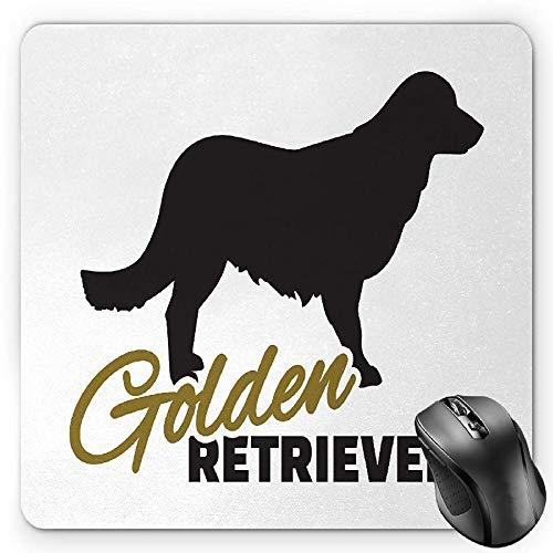 BGLKCS Golden Retriever Mauspads Mouse Pad, Purebred Dog Black Silhouette with Hand Written Style Inscription, Standard Size Rectangle Non-Slip Rubber Mousepad, Gold Black White -