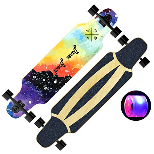 Price comparison product image ZYSMC LED Flashing Wheel 7 Layer Maple Double Rocker Skateboard,  Beginner Skateboard Longboard Adult Boys And Girls Road Four Roller Skating