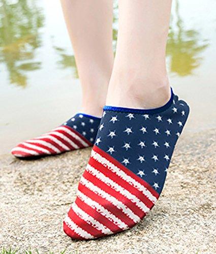 LvRao Unisex Sommer Aqua Wasser Weiche Schuhe Schwimmen Pool Schuhe Aquaschuhe USA Flagge