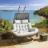 7a1c31c6aab8 Quatropi Outdoor 2 Person Garden Hanging Swing Chair/Sunbed Grey Rattan New