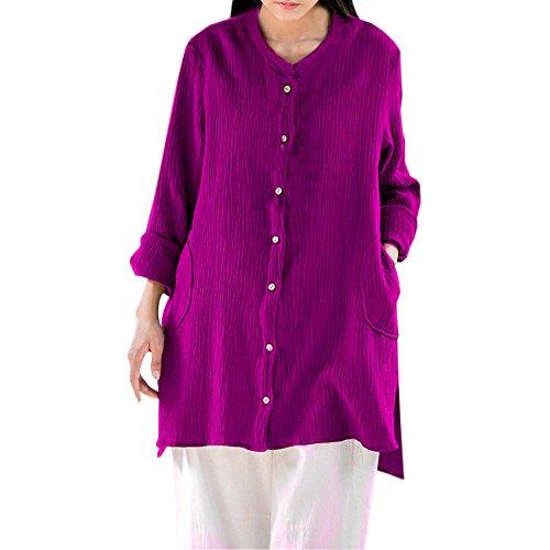 Produp Womens Casual Tops Gitter Lose Langarm Bluse Taste Plus Größe Splice Baumwolle Sweatshirt Bluse Tunika Komfortable Pullover