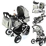 3 in 1 Kinderwagen Bambimo Grau Babywanne - Buggy - Sportsitz - Babyschale Autoschale - Aluminium Rahmen - 1 Klick System